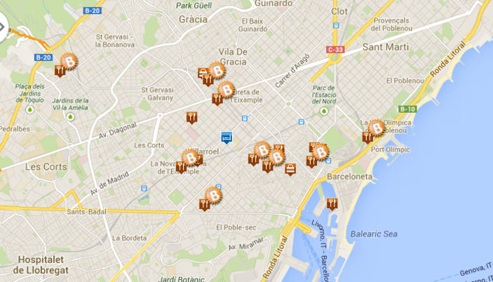 Tourist Zones Map barcelona