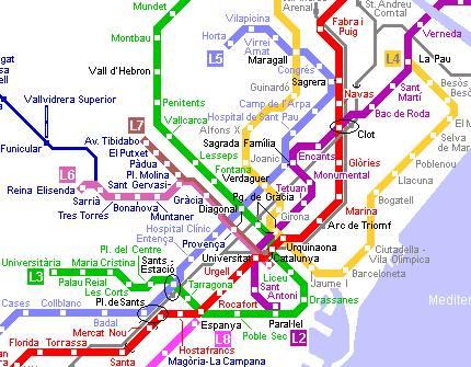 Mappa della Metropolitana di Barcellona