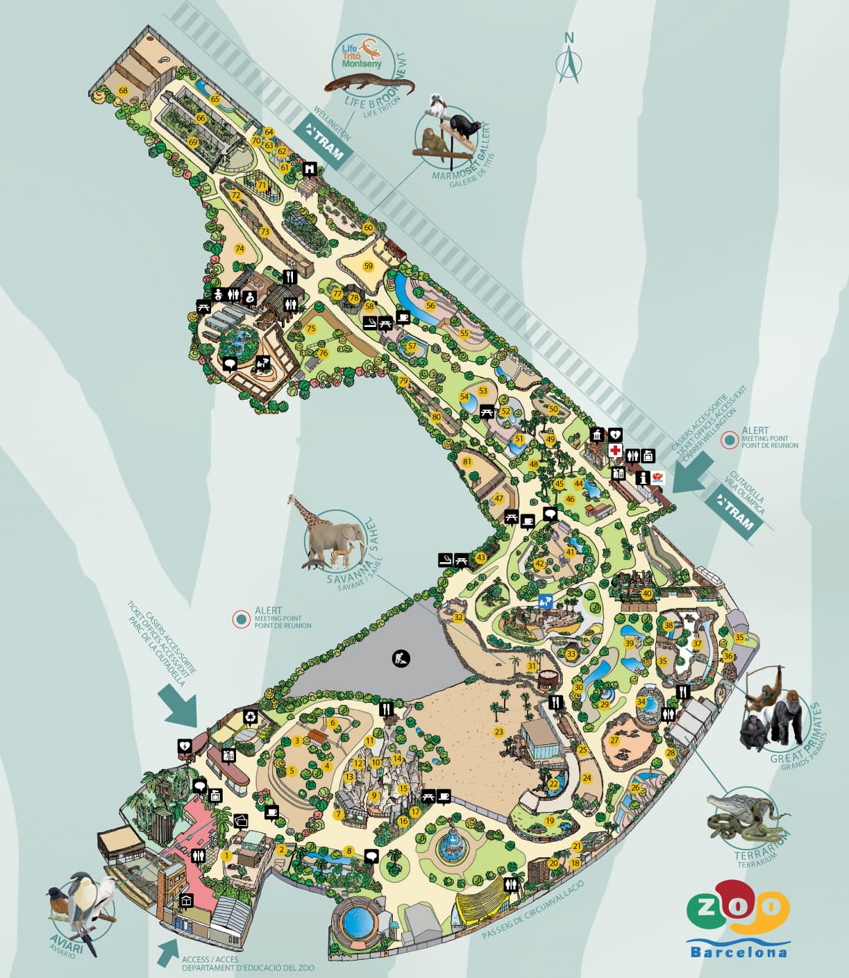 Zoo barcelona map - 2019