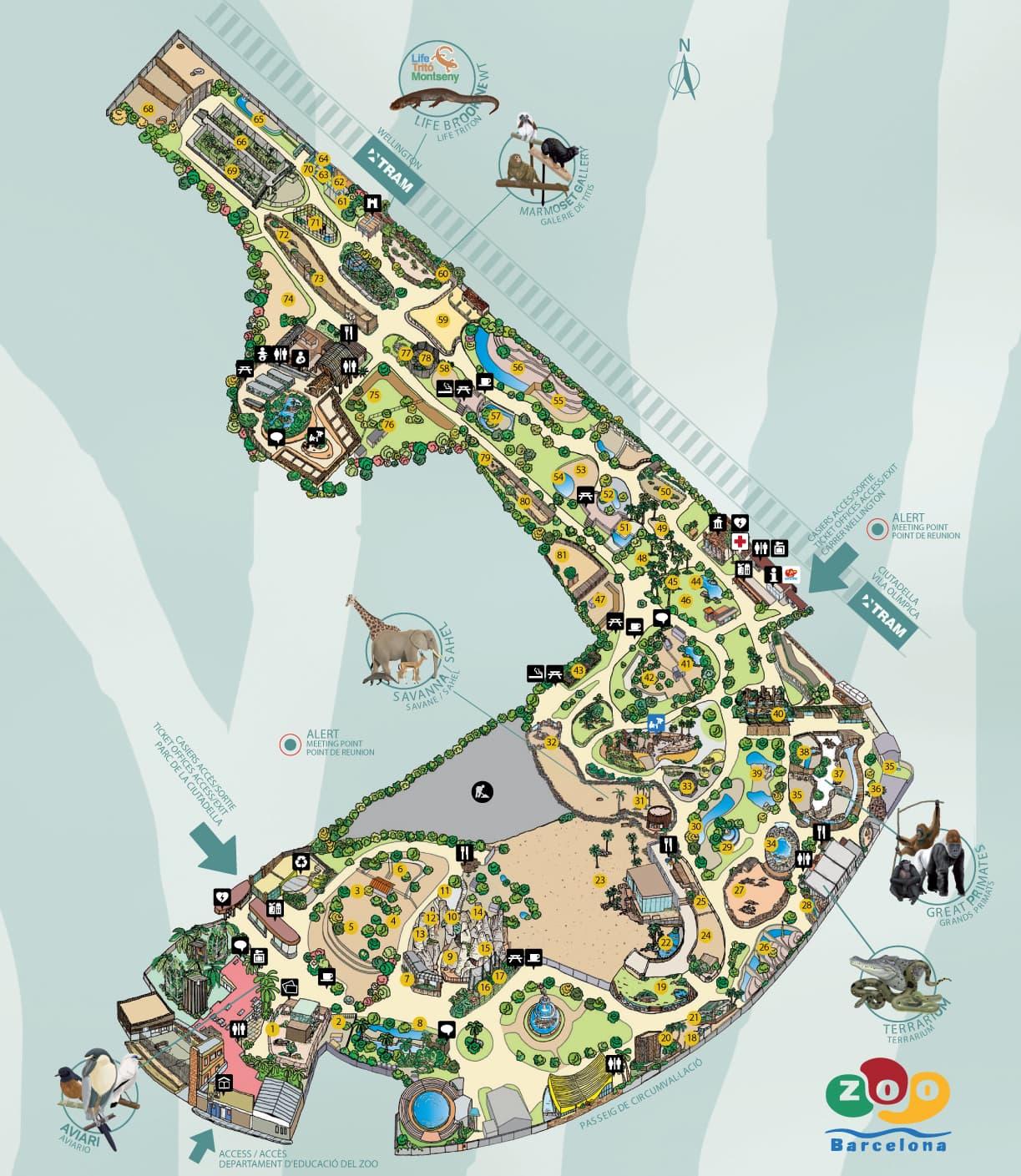 Zoo barcelona map - 2019