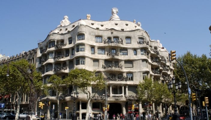 "La Casa Mila in Barcelona named ""La Perdrera "" by Antoni Gaudi